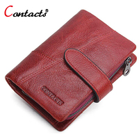 CONTACT S Women Wallet Genuine Leather Wallet Female Coin Purse Luxury Brand Card Holder Short Clutch