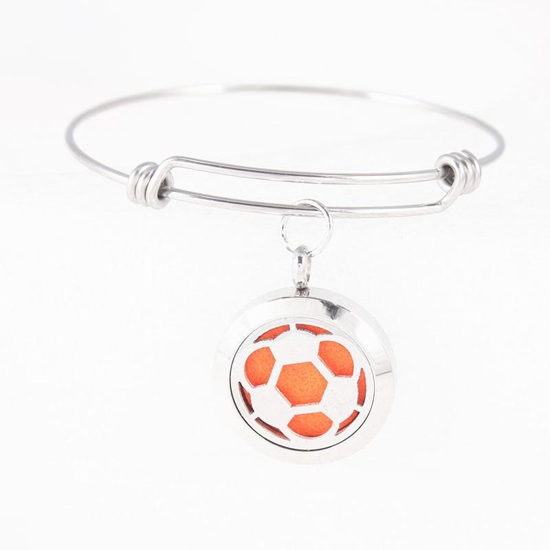Новый 25 мм футбольный дизайн диффузный медальон браслет из нержавеющей стали эфирное масло ароматерапия диффузор браслет