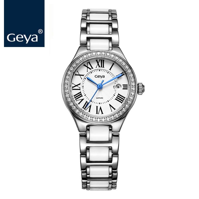 Geya 2017 Mulheres Relógios de Marca de Relógio de Quartzo Mulheres Pulseira de Relógio de Diamantes de Cerâmica Vidro De Safira Jóias Relógio Para relogio feminin