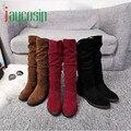 Alta qualidade Outono Inverno Botas Mulheres Bota Doce Elegante Rebanho Plana Sapatos Botas de Neve 170210