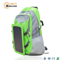 BOGUANG 6v 6.5w Solar panel built-in fabric green polyester backpack USB charging Ride Leisure camping climbing customized Bag