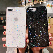 Glitter Bling Star Soft TPU Case Cover For iPhone 8 7 6 6S Plus X 10 Shining Black Clear Phone Protect XS XR MAX