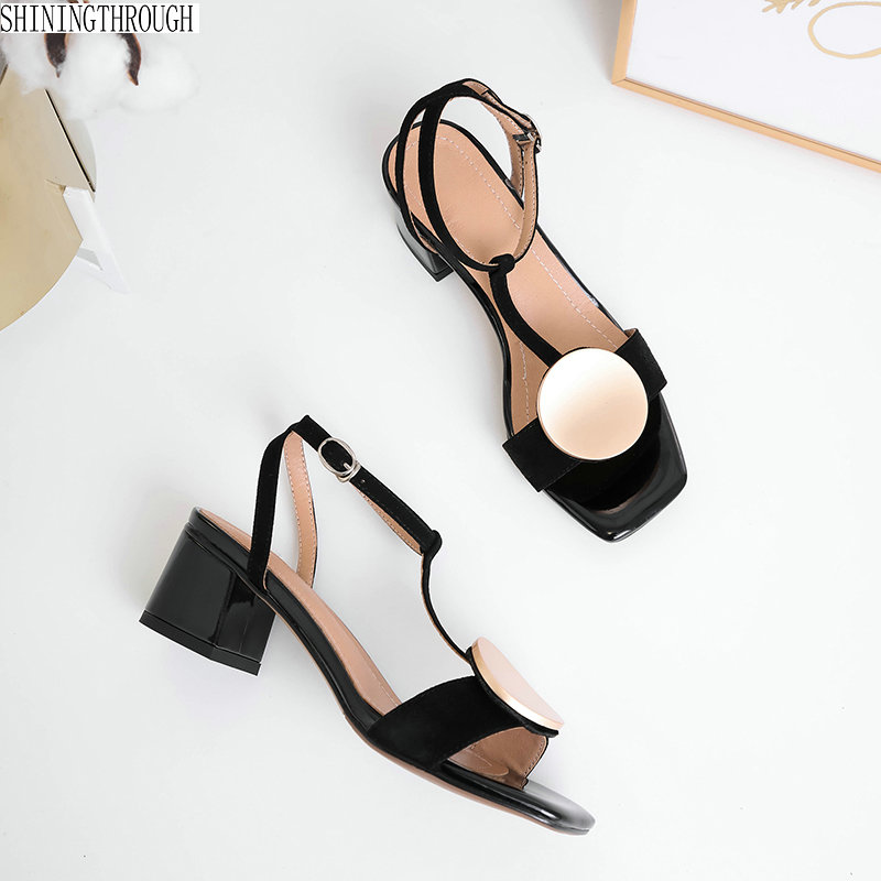 Women Sandals suede Leather metal 2019 New Fashion Shoes Woman Rome Square Heeled Pumps large size 34-42Women Sandals suede Leather metal 2019 New Fashion Shoes Woman Rome Square Heeled Pumps large size 34-42