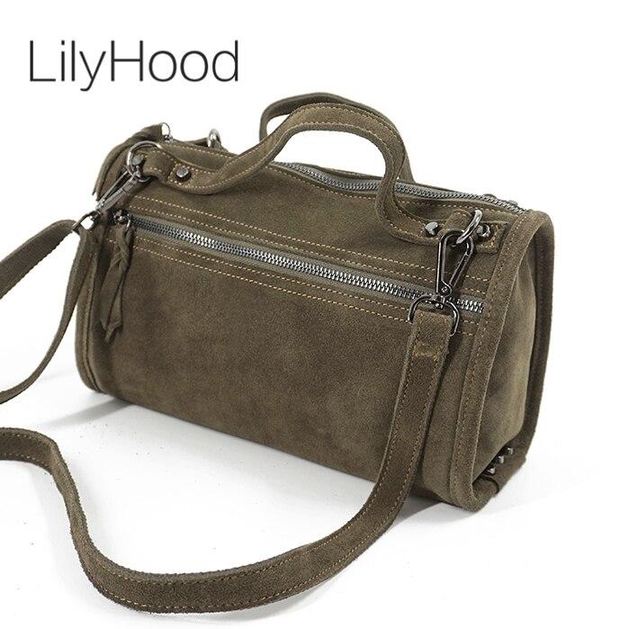 LilyHood Female Suede Genuine Leather Rivet Shoulder Bag For Women Leisure Small Boston Handbag Nubuck Bowler Crossbody Bag