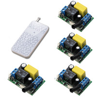 AC220V RF Wireless Remote Control Switch 4pcs Receivers And Transmitter For Home Appliances Garage Door 315