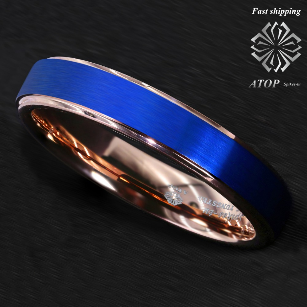 6mm Blue Tungsten Carbide Ring Rose Gold Brushed Wedding Band ATOP Men Jewelry