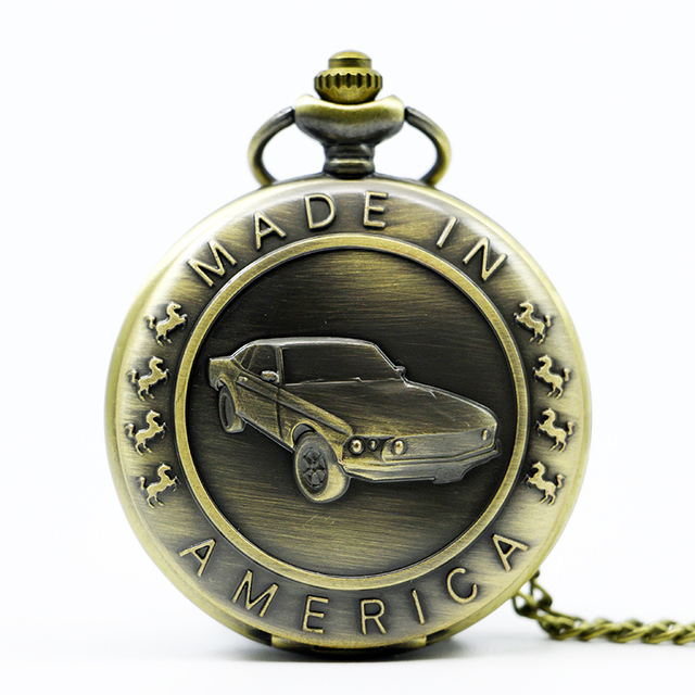 Bronze Mustang Pattern Car Quartz Pocket Watch with Key Chain Male Female Clock