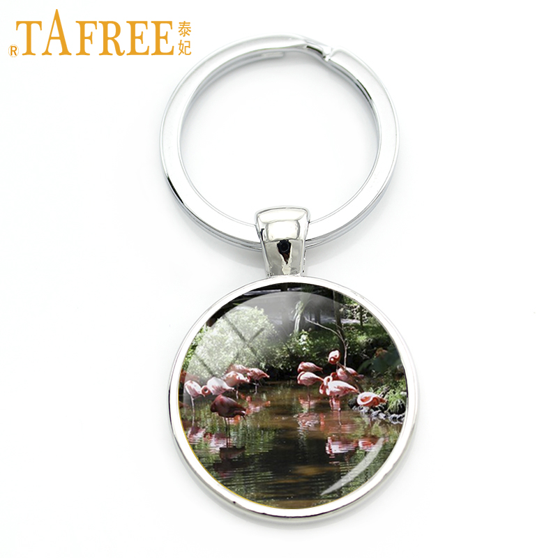 TAFREE Loving Flamingo Keychain two birds facing each other on a white background key chain fashion couple love jewelry H527