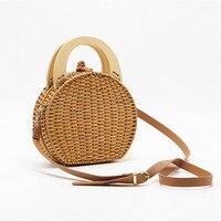 Handmade Criss cross Camel Color Messenger Shoulder Bag Straw with Wood Ring Handles