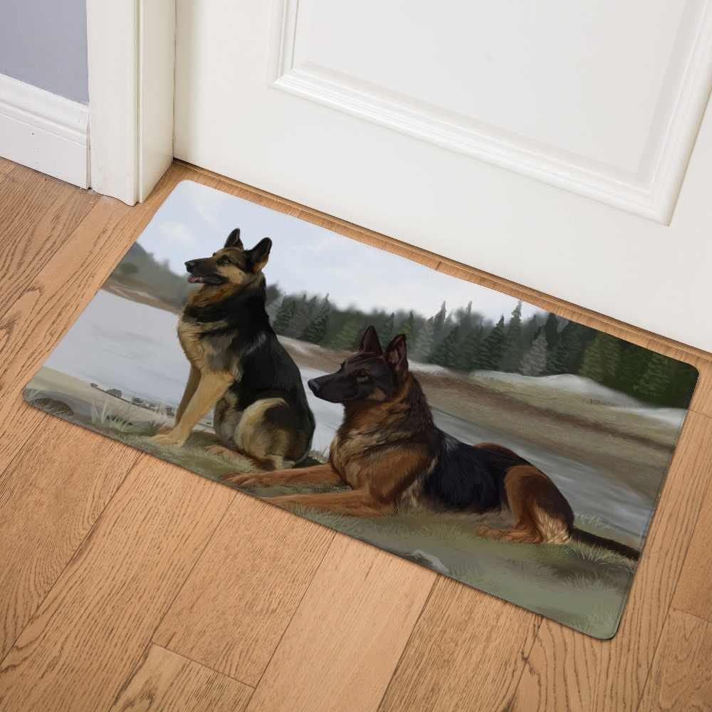 الألمانية الراعي الذئب الكلب الأسود عودة ديكور المنزل ممسحة نعل المطبخ السجاد داخلي في الهواء الطلق ترحيب الحمام غير زلة الطابق الحصير
