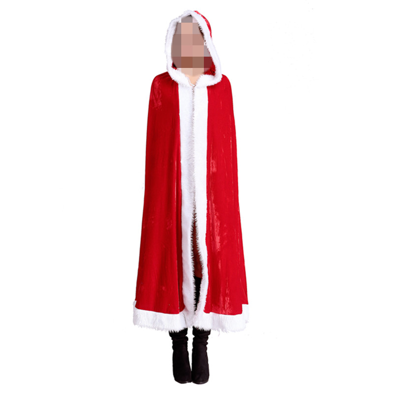 2016 New Arrival Sexy Christmas Santa Cape Cloak Red Hood Fantasy Santa Claus for women Party Gown Shawl Winter Red Party Cloak