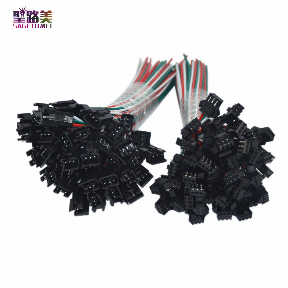 50-Pair-3pin-JST-Connector-Male-Female-Cable-Wire-for-WS2811-WS2812B-RGB-LED-Strip-Free