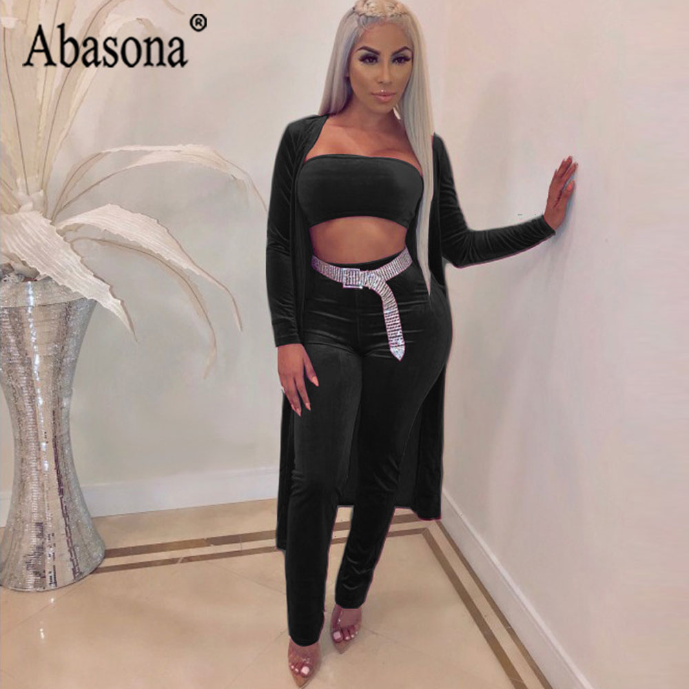 3e3789b6eb00 Abasona 3 Piece Sets Sexy Strapless Jumpsuit Women Long Sleeve Bodycon  Rompers Womens Jumpsuit Purple Black Club Outfits No Belt-in Jumpsuits from  Women s ...
