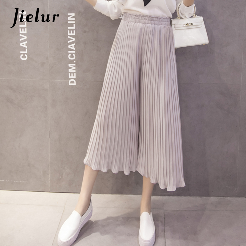 Jielur 2019 New Fashion 8 Colors Ruffles Chiffon   Pants   Women Casual Pleated Pantalon femme S-XL Loose Pure Color   Wide     Leg     Pants