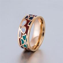 2017 Cute Clover Flower Enamel Rings for Sweet Girl Part Gift Stainless Steel Ring Ethnic Jewlery