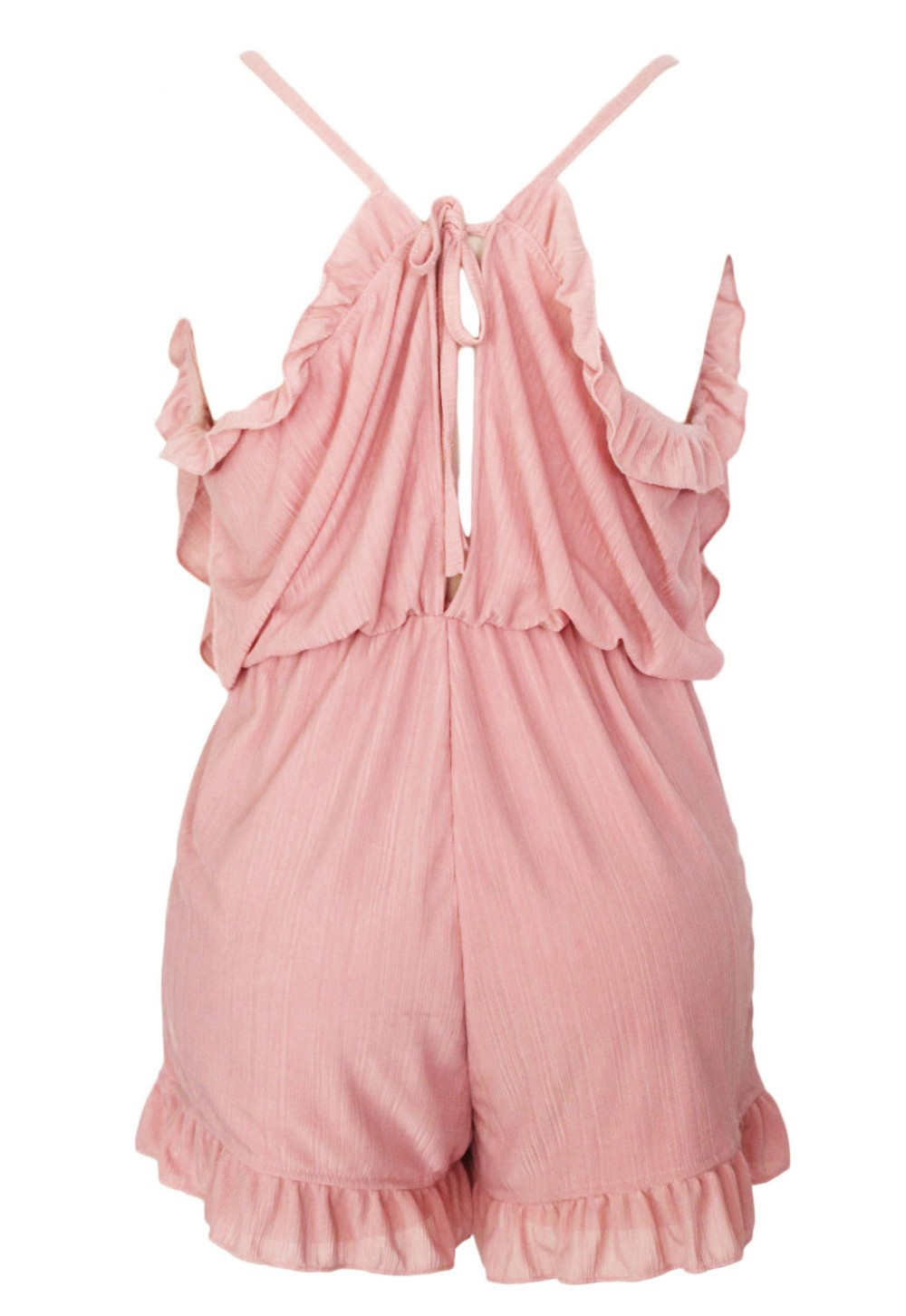 Pink-Ruffle-Off-The-Shoulder-Romper-LC60275-5