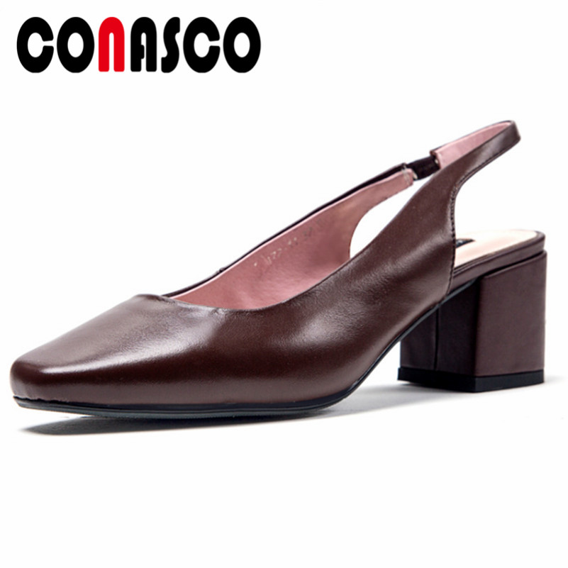 CONASCO 2019 New Slingbacks Pumps High Heels Ankle Strap Genuine Leather Party Wedding Shoes Woman Fashion Square Toe Pumps