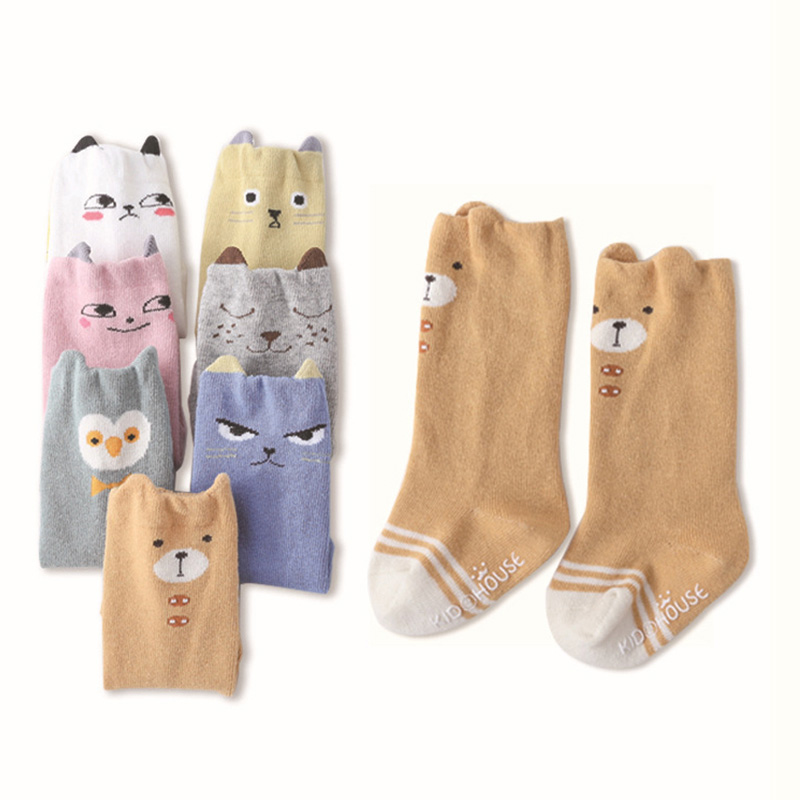 1 Pair Unisex Lovely Cute Cartoon Fox Kids baby Socks Knee Girl Boy Baby Toddler Socks animal infant Soft Cotton socks in Socks from Mother Kids