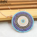 2017 New trendy nano pave turquoise evil eye pendant necklace 925 Silver luxury pave CZ Eye necklace for women