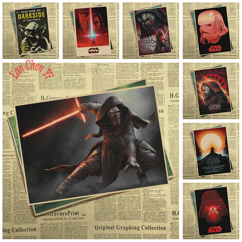 Star Wars Series Matte Kraft Paper Poster Office Gift Room Dining Home Decor wall sticker Design
