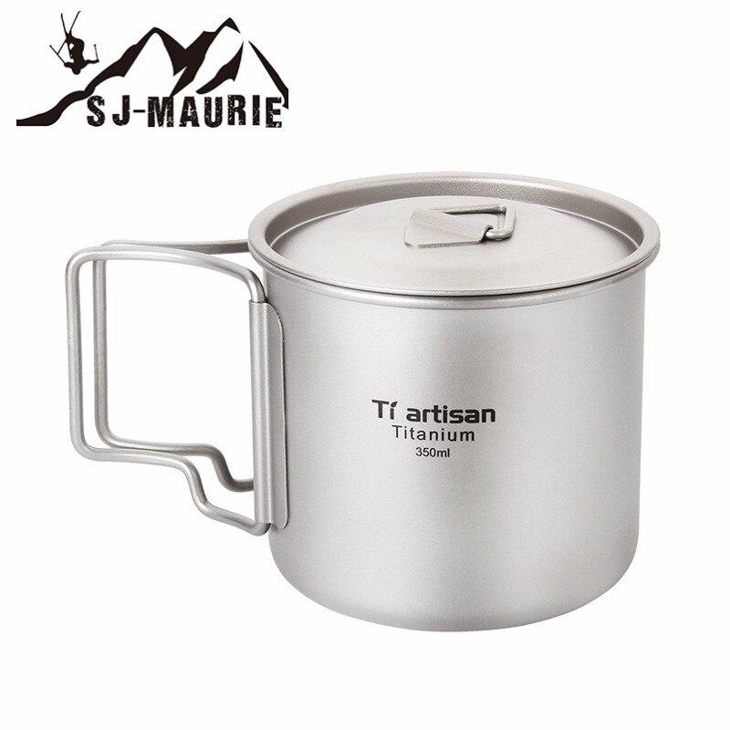 Sj-maurie Pot en titane tasse tasse ultra-légère en plein air vaisselle voyage café thé Camping Pot eau tasses cuisson avec couvercle poignée