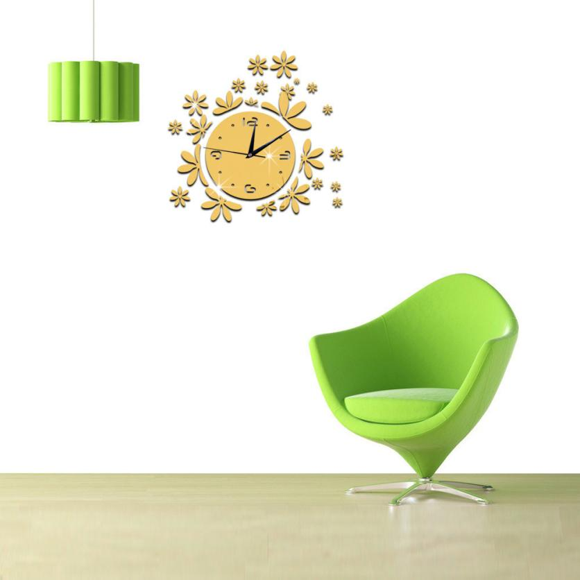 Wall Sticker Living room bedroom background Hot Fashion Modern DIY Wall Clock 3D Mirror Surface Sticker Home Office Art Apr19