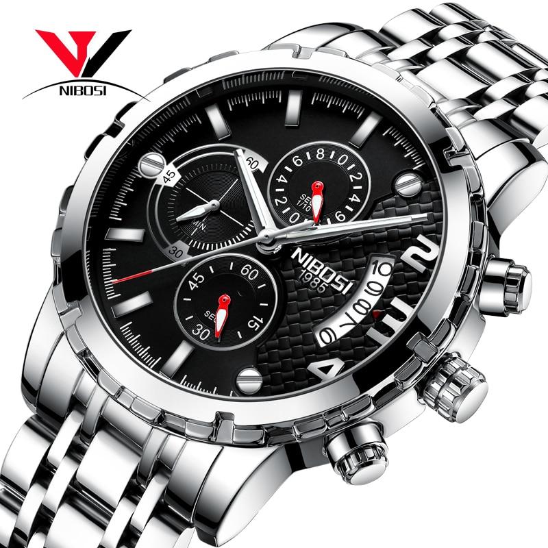 NIBOSI Chronograph Men Watches Top Brand Luxury 2018 Sport/Military Watch Men Waterproof Stainless Steel Wrist Watch Male Clock
