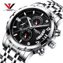Nibosi relógio de pulso masculino, relógio de marca de luxo top para homens, esporte militar, à prova d água, aço inoxidável, cronógrafo, 2018