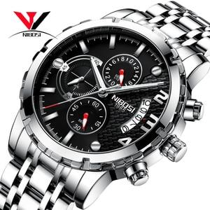 Image 1 - Nibosi relógio de pulso masculino, relógio de marca de luxo top para homens, esporte militar, à prova d água, aço inoxidável, cronógrafo, 2018