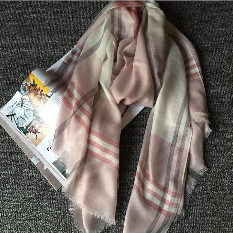 100%Cashmere Scarf Women pashmina Soft Warm Pink Gray Plaid scarf Shawl Natural Fabric High Quality Free Shipping
