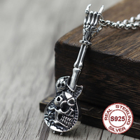 Authentic S925 sterling silver pendants Classic retro men's personality pendant Skull guitar manual carved version Send lover's