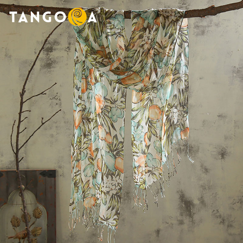 Floral Printed Linen Women Summer Scarves 180x55cm Tassels Sunscreen Woman Scarf Brand Pashmina Shawls Hijabs ST