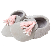 ROMIRUS Baby Moccasin Newbron Baby First Walker Soft Bottom Non-slip Baby Shoes Kids Leather Prewalkers Boots Grey Pink 12cm