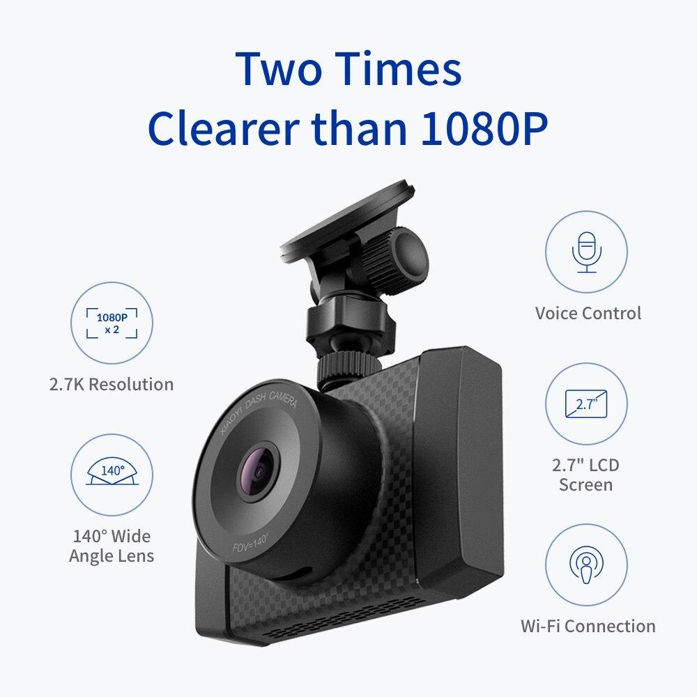 YI Ultra Dash Camera With 16G Card 2.7K Resolution Car DVR A17 A7 Dual Core Chip Voice Control light sensor 2.7 inch Widescreen - 2