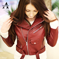 2017 Spring Leather Jacket Women Washed PU Short Motorcycle Rivets Fashion Faux Leather High Quality Brand Coat 7 Colors PU02