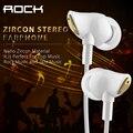 Pedra zircão ruído isolando fones de ouvido com fio em fones de ouvido estéreo com microfone e controle de volume para iphone samsung