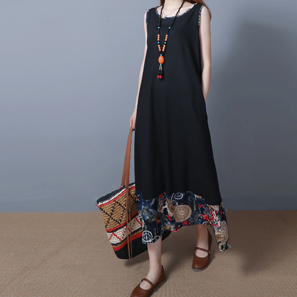 Telotuny Maternity clothes Large size ethnic style loose cotton and linen vest long sleeveless dress vestido largo JL 04