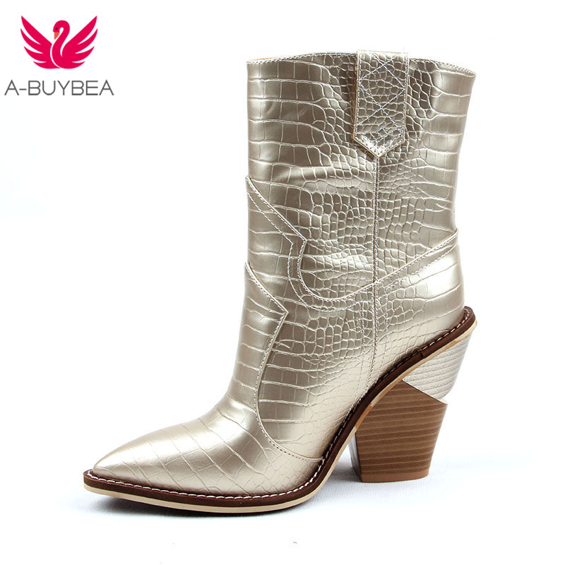Size 43 Fashion Winter Western Cowboy Ankle Boots Cowgirl Boots Women Shoes Pointed Toe Splicing Sequined PU Leather Shoes Woman
