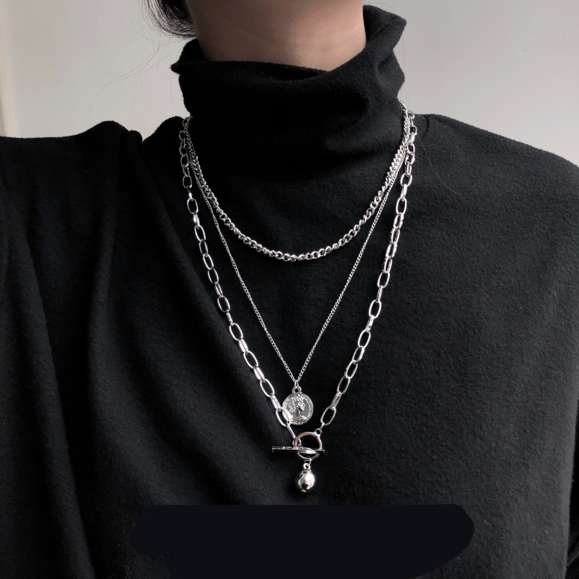 HUANZHI 2019 New Trendy Metal Ball Coin Pendant Multi-layer Punk Casual Design Long Chain Necklace For Women Men Jewelry Gifts