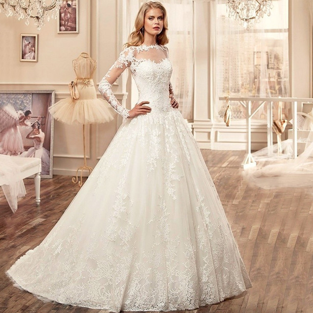 Sexy See Through Long Sleeve Lace Wedding Dresses Cash On Delivery