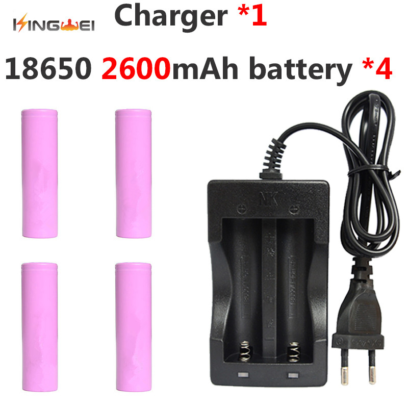 4pcs/lot Kingwei Original Battery for Samsung 18650 ICR18650-26F 2600mAh 3.7v Battery +1pcs 18650 Dual Charger image