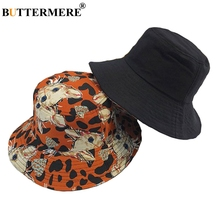 BUTTERMERE Bucket Hat Female Orange Cotton Reversible For Girls Summer Cat Cute Thin Fisherman Women