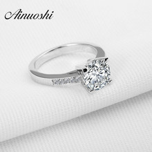 AINOUSHI Luxury 2 Carat Round Cut Sona Solid 925 Sterling Silver Wedding Anniversary Engagement Ring Jewelry for Women