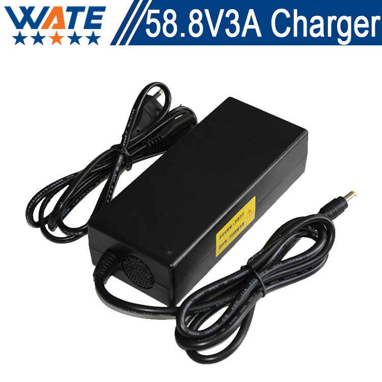 58.8V 3A Charger 14S 48V Li-ion Battery Charger Lipo/LiMn2O4/LiCoO2 Charger Output DC 58.8V With cooling fan Free Shipping 4 in 1 multifunction charging dock station cooling fan external cooler dual charger for xbox one controllers s game console