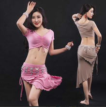 Sexy Women Soft Modal Belly Dance Costume Oriental Dancing Training Clothing Top+Skirt Suit for Womens belly dance wear DW031