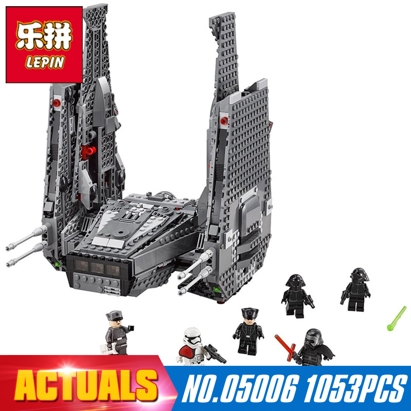 LEPIN 05006 1053Pcs Star Wars The Force Awakens Kylo Ren's Command Shuttle Model Building Kits Blocks Bricks 75104 Boy Toys Gift