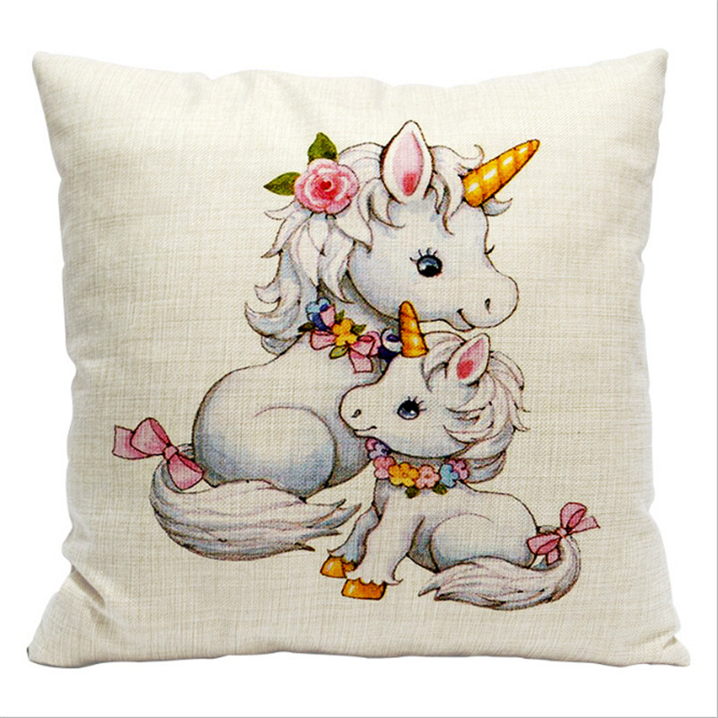 Maiyubo 2018 Funny Unicorn Rainbows Pillow Case Nordic Harajuku Cartoon Cushion Cover Kids Toys Pillows Cover for Sleeping PC500