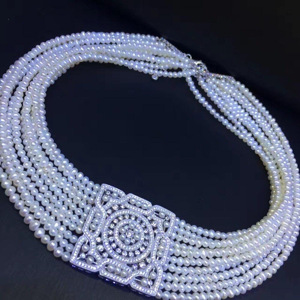 Натуральный пресноводный жемчуг колье ожерелье стерлингового серебра 925 пробы с фианит квадратный Женская мода ювелирные изделия Бесплатн