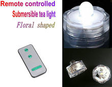 36pcs/lot Remote controlled Floralyte Submersible Vase led tea Lights tealight Candle lamp w/controller underwater floral shaped(China)