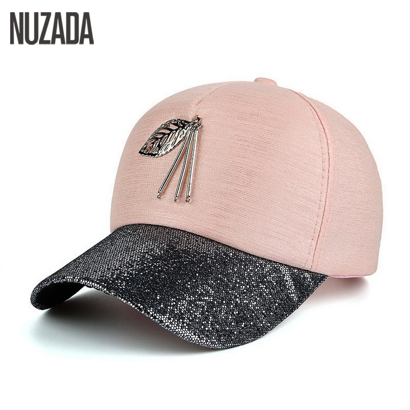Brand NUZADA 2017 Spring Summer Autumn Women Men Snapback Baseball Cap Bone Metal Leaves Hats Hip Hop High Grade Cloth Caps